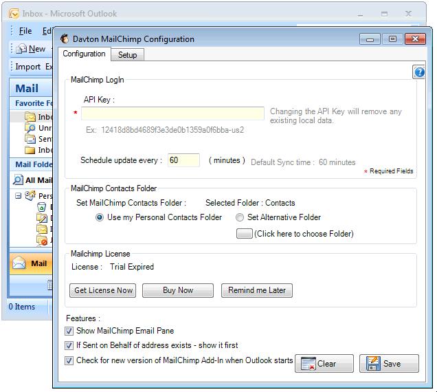 MailChimp API Key required!