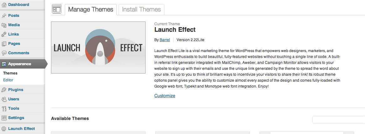 Launch Effect can be activated as one of the installed themes