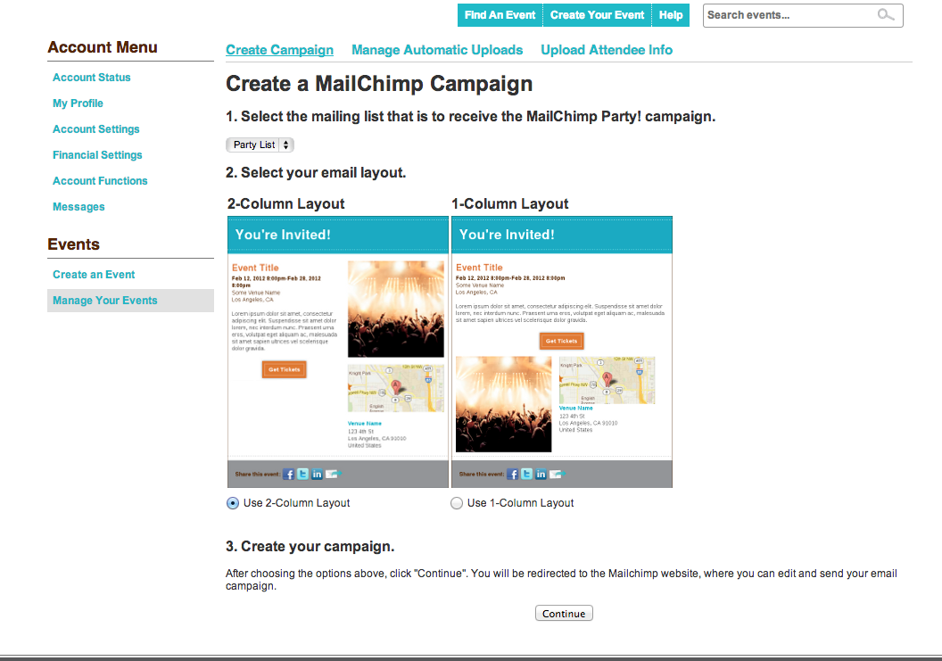 How to article brown paper tickets mailchimp integration for Mailchimp create template from campaign