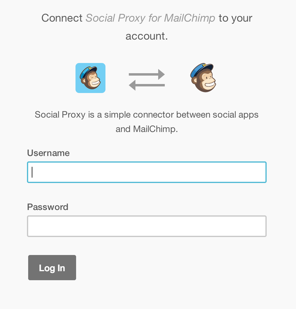 OAuth with your MailChimp username and password