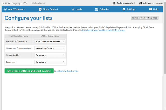 Less Annoying CRM integration with MailChimp Lists