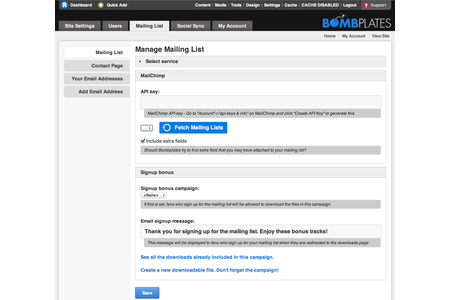 Collect mailing and demographic information directly from your Bombplate using MailChimp!