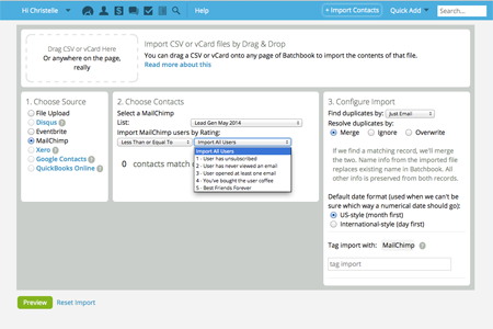 Import contacts with MailChimp integration