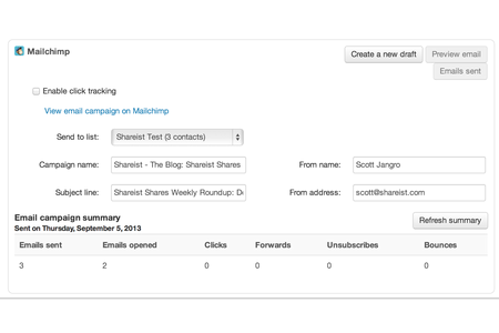 Publish your newsletter directly to MailChimp