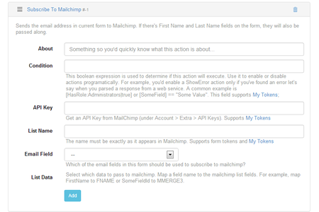 DNN MailChimp Add-on for Action Form Settings