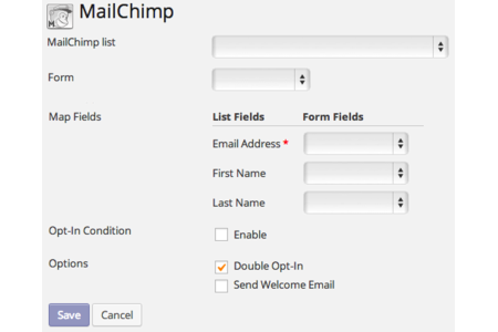 Easy Setup: Pick what forms to connect to MailChimp and what information to send.