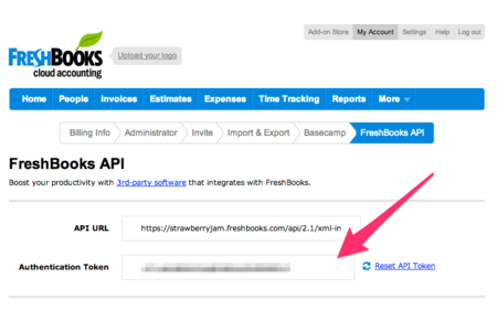 FreshBooks API Key Location