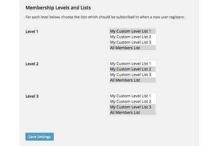 Membership-level specific list subscription settings.