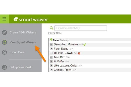 All customer data and signed waivers are stored in a secure, searchable, online database.