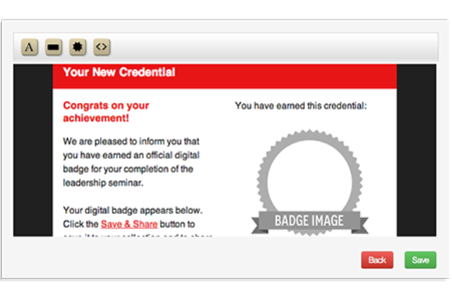 Insert placeholders for your badge image, save and share button or link into any MailChimp email template