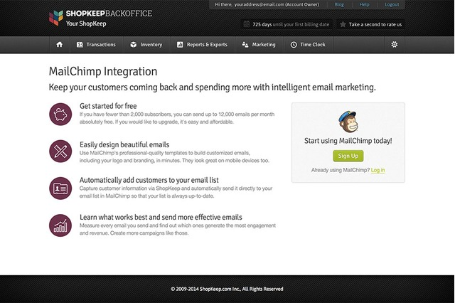Log in to MailChimp