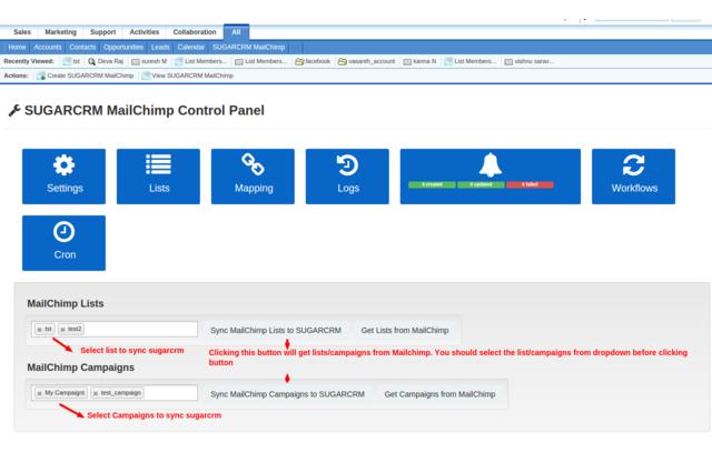 SugarCRM MailChimp Integration Controlpanel