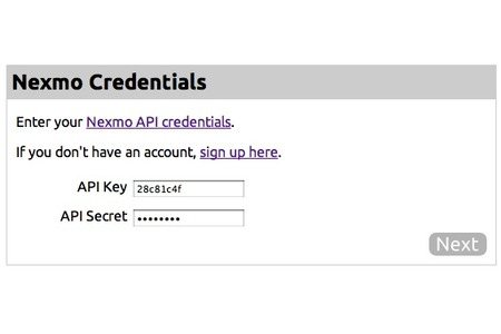 Enter Nexmo API Keys