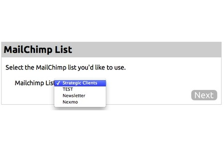 Select Mailchimp list