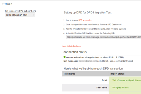 MailChimp DPD Integration Setup