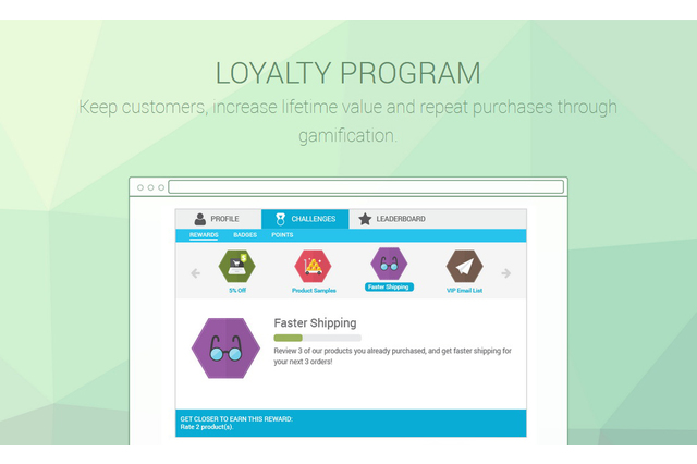Keep customers, increase lifetime value and repeat purchases through gamification.