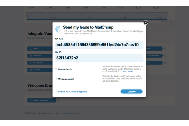 Lander - Mailchimp Integration Window