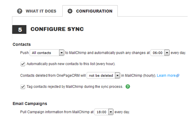 Sync contacts from OnePageCRM to MailChimp
