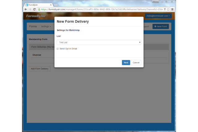Add a MailChimp delivery