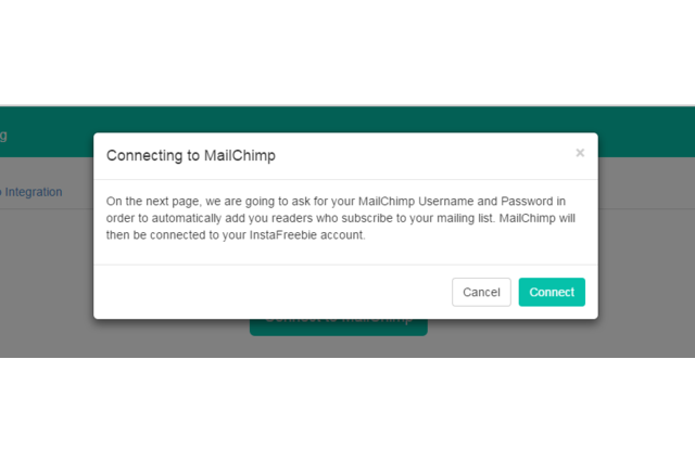 Click Connect to Mailchimp. Click Connect again.