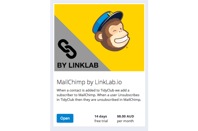 Select the MailChimp Add-On