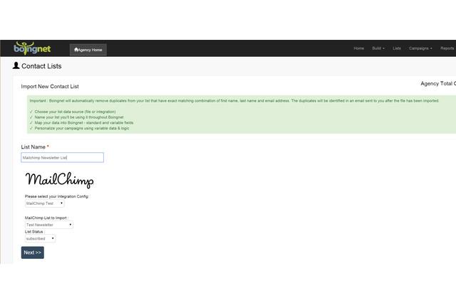 Mailchimp List Configuration