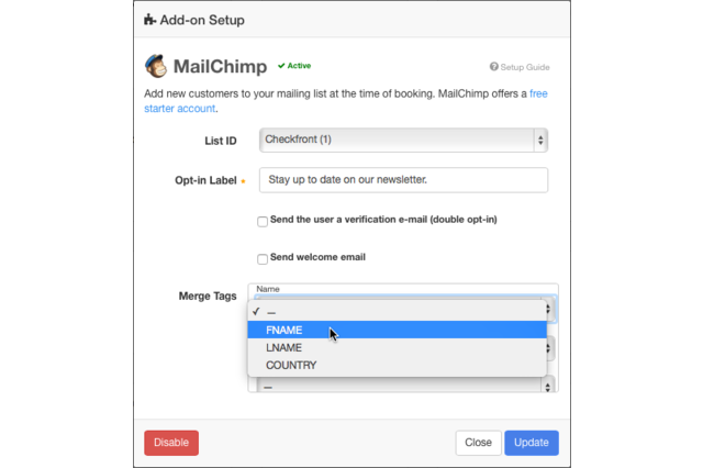 Setting up Checkfront with MailChimp