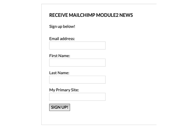 MailChimp Module2 in action