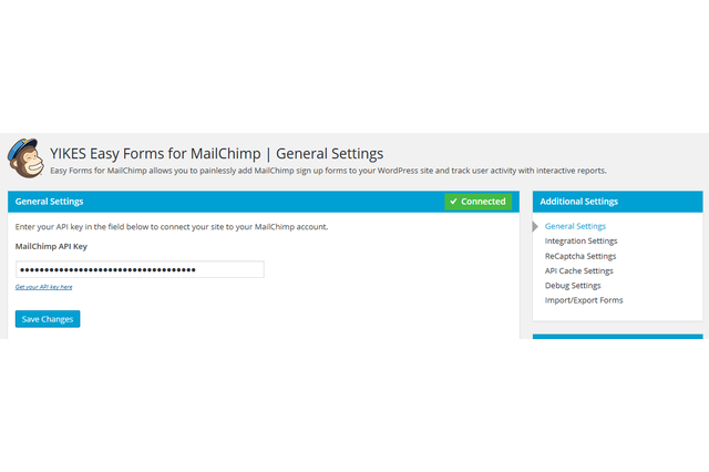 Enter your MailChimp API key to connect your site to your MailChimp account