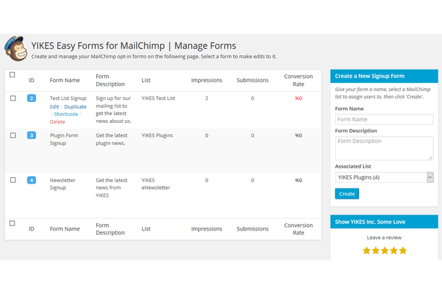Manage Forms Page