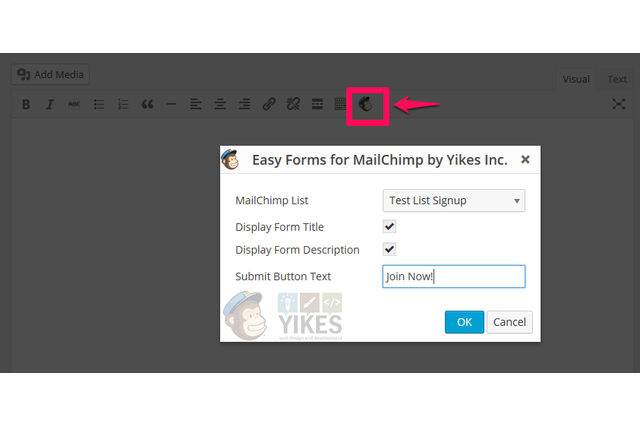 Editor Button to easily add Forms to Page and Posts