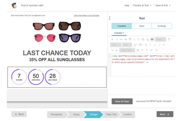 MailChimp email builder integration