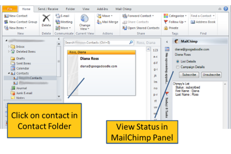 Update MailChimp while Viewing Outlook Contacts