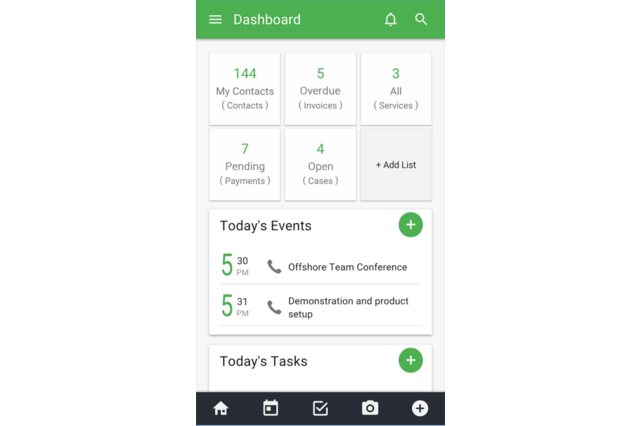 The Vtiger 360 mobile app's dashboard