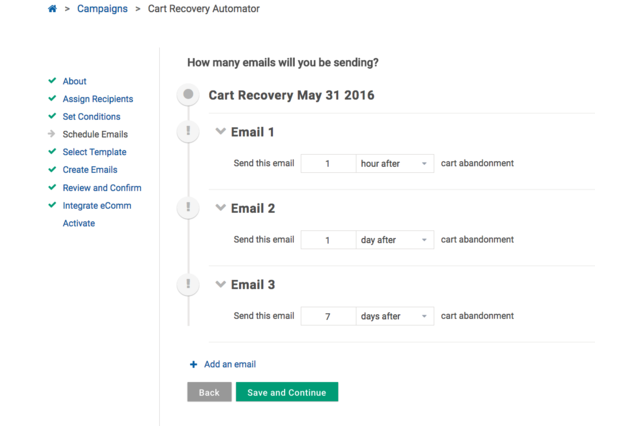 Schedule cart recovery emails easily