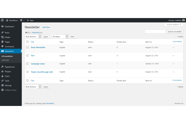 This is the WordPress admin screen where your can see all your imported MailChimp campaigns