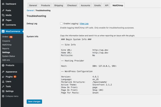 WooCommerce MailChimp Troubleshooting Settings