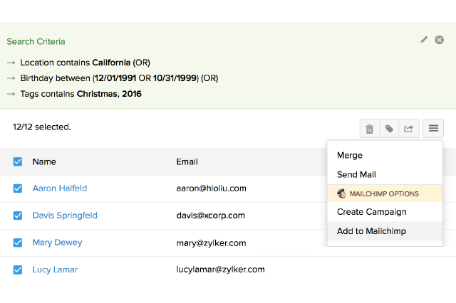 Add contacts directly to an existing MailChimp list or to a new list right within Zoho ContactManager