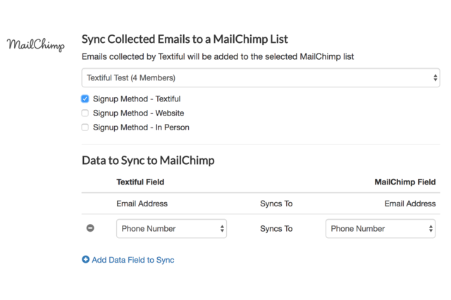 Easy setup! Collected email addresses can be synced to your MailChimp list and interest groups.