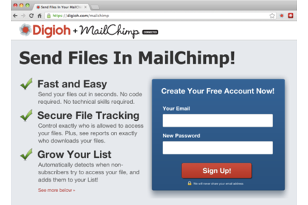 Digioh MailChimp Integration Homepage