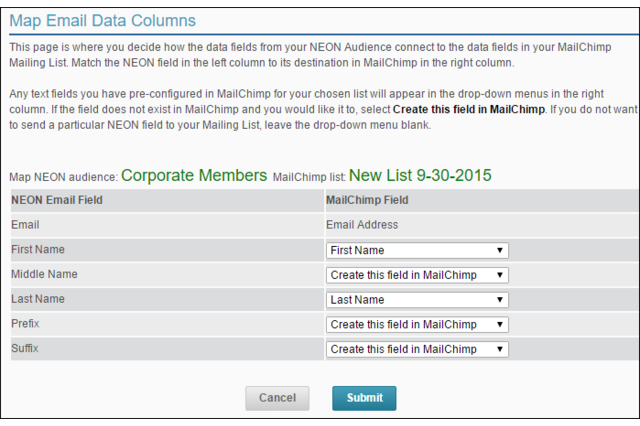 NeonCRM+MC Field Mapping