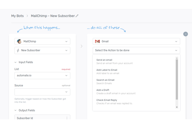 Select Trigger and Action for Gmail and MailChimp Integration