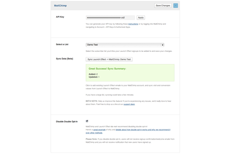 A screenshot of the MailChimp integration options screen on Launch Effect.