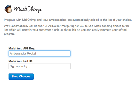 MailChimp Integration Screen