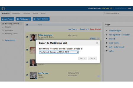 Select MailChimp list to send contacts
