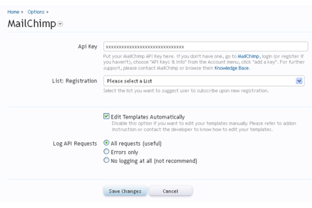 Xenforo Mailchimp plugin option from admin's panel