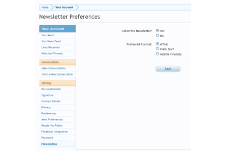 Members can manage their newsletter subscriptions within their account