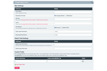 Settings page for Subscriber Form