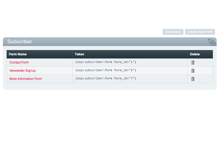 Dashboard showing multiple Subscriber forms