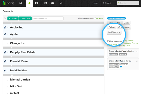 Select contacts from the contact page and send them to MailChimp instantly.
